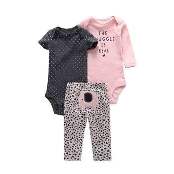 Conjunto de ropa de bebé infantil de algodón para niña de manga larga body Carta + Pantalones elefante animal 3 piezas pulóver traje de punto