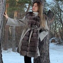 Модная Двусторонняя Шерстяная Смесь натуральный Лисий мех пальто с поясом кожаная женская куртка новая женская кожаная куртка