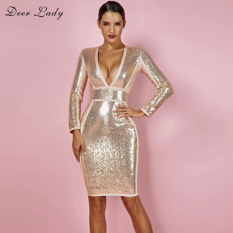 Deer Lady Bandage Dresses For Women 2019 New Arrivals Sequin Bandage Dress Long Sleeve Bodycon V