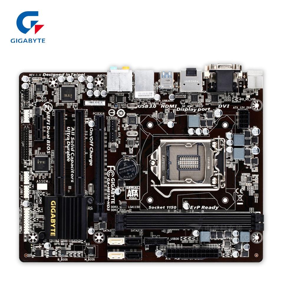 Gigabyte GA-H81M-HD3 Original Used Desktop Motherboard H81M-HD3 H81 LGA 1150 i3 i5 i7 DDR3 16G Micro-ATX asrock h61m vg4 original used desktop motherboard h61 socket lga 1155 i3 i5 i7 ddr3 16g usb2 0 micro atx