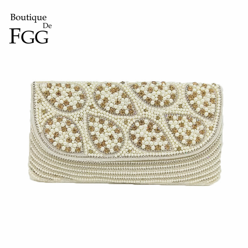 Boutique De FGG Hand Made Women White Beaded Purse Evening Clutch Wedding Bridal Beading Handbag Party Cocktail Crystal Bag