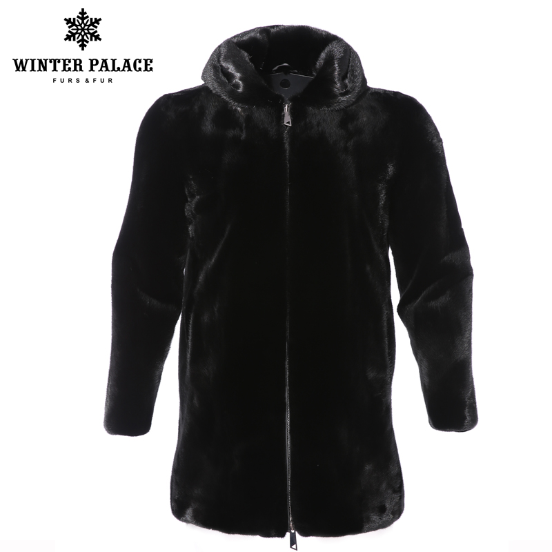2018 Solid winter new fashion male black mink fur coat hood fur coat high-grade real fur coat long fur jacket Thick