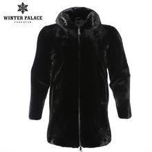 2018 Solid winter new fashion male black mink fur coat hood fur coat high grade real