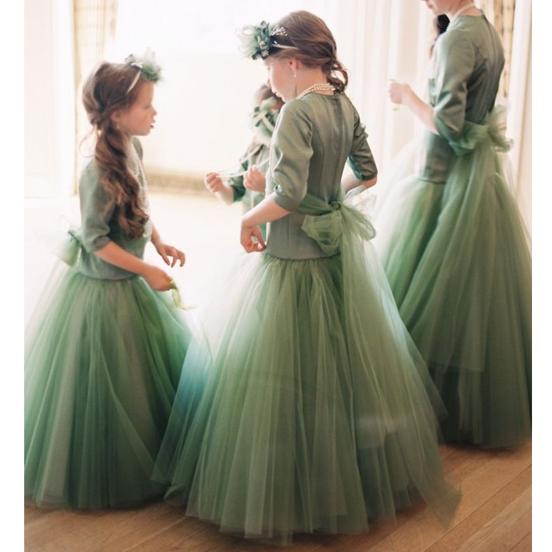 New Flower Girls Dresses Short Sleeves Ball Gown O-Neck Girls First Communion Gown Girls Pageant Dress New 0-16 Y цена 2017