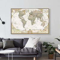 Large Size Single Wall Art The World Map Oil Painting On Canvas Prints Europe Vintage Picture