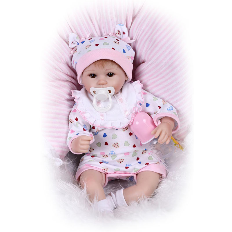 17 Inch Vivid Reborn Baby Doll with Free Pacifier Safe Silicone Dolls Realistic Reborn Girls Birthday Xmas Gift NPK COLLECTION hot sale 2016 npk 22 inch reborn baby doll lovely soft silicone newborn girl dolls as birthday christmas gifts free pacifier