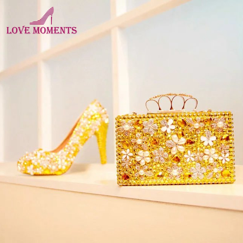 Gold Rhinestone Wedding Shoes Gorgeous Crystal Flower Bridal Dress Shoes with Matching Bag Gift for Wife
