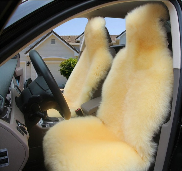 1 PC Australian Natural Woolen Winter Warm Fur Car Front Single Seat Cover Sheepskin For All Cars single car seat cushion sheepskin car front seat cover winter warm woolen auto seat cover long woolen with short artificial fur