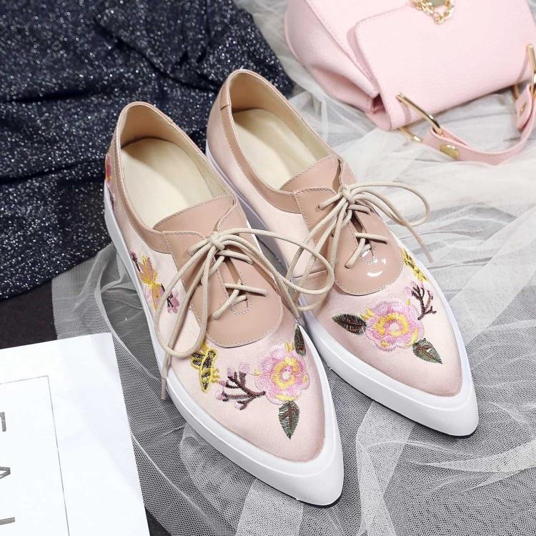 Otoño Suela 2019 Pie Mujer Mujeres De Plataforma Creepers Las Dedo Rosado Puntiagudo apricot Gruesa Del Planos Zapatos Encaje Seda Zapatillas Casuales zqdqfw