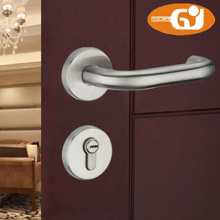 Stainless steel lever door handle lock on rose for interior wooden door цена