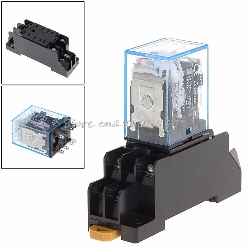 Drop Shipping PYF08A 220/240 V AC Bobina Power Relay DPDT MY2NJ 8 Pin With Base Drop Ship