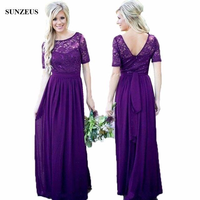 Sequins Lace Bridesmaid Dress Long Purple Chiffon Wedding Party With Short Sleeves Robe Demoie D