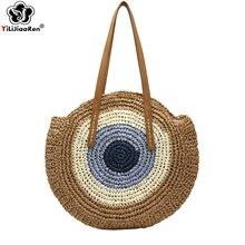 Fashion Circle Summer Beach Bag Handmade Woven Round Straw Bag Large Capacity Tote Luxury Handbags Women Shoulder Bags Designer цена в Москве и Питере