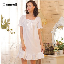 Fashion Princess Women Nightgowns Cotton Sleepwear White Square Collar Nightdress Ladies Lounge Sleepshirts Plus Size Nightgown