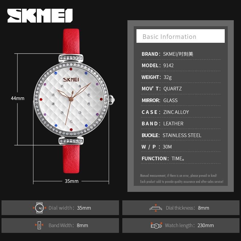 SKMEI Fashion Quartz 9142 Women Watch Slim Leather Bracelet Elegent Ladies Watches Girls Casual Wristwatches Relogio Feminino in Women 39 s Watches from Watches