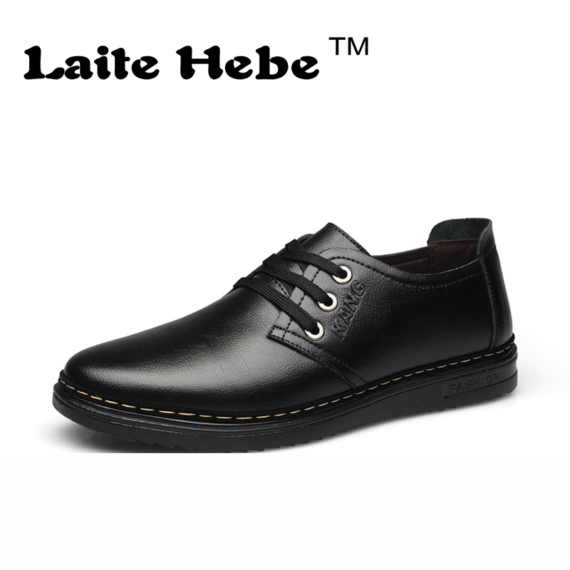 Laite Hebe Men 's Leather business Shoes 2016 New High Quality Casual Shoes Genuine Anti-Skid Stripe Brogues Lace-Up Men's Shoes new men s business casual leather stage shoes silver retro leather dating personality shoes