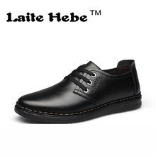 Laite Hebe Men 's Leather business Shoes 2016 New High Quality Casual Shoes Genuine Anti-Skid Stripe Brogues Lace-Up Men's Shoes
