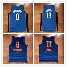 New Mens  13 Paul George  0 Russell Westbrook Throwback Basketball Jersey  US Size S fd566e093