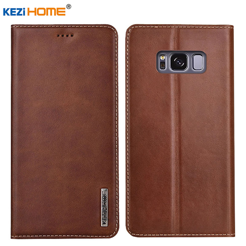 Case for Samsung Galaxy S8 Plus KEZiHOME Luxury Genuine Leather Flip wallet Cover for Samsung S8 Phone cases