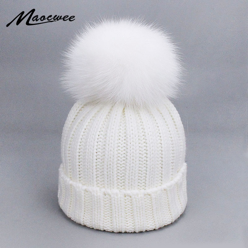 Children Adult Natural Fox Raccoon Fur Pom Poms Hat Female Elegant Knitted Winter Brand Women's Warm Ski Hats Skullies Beanies