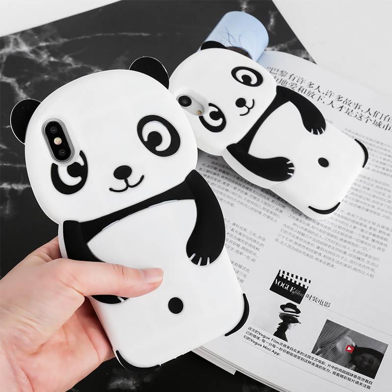 <font><b>3D</b></font> Nette Panda Tier Cartoon Fall Für <font><b>iPhone</b></font> 6 6s 7 8 Plus X XS Silikon Gummi Soft Cover für <font><b>iPhone</b></font> 7 8 5 <font><b>5s</b></font> SE Telefon Fall image