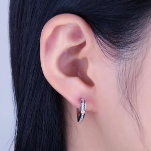 Image 4 - JewelryPalace aşk CZ Hoop küpe kanal seti kadınlar için 925 ayar gümüş küpe kore küpe moda takı 2020