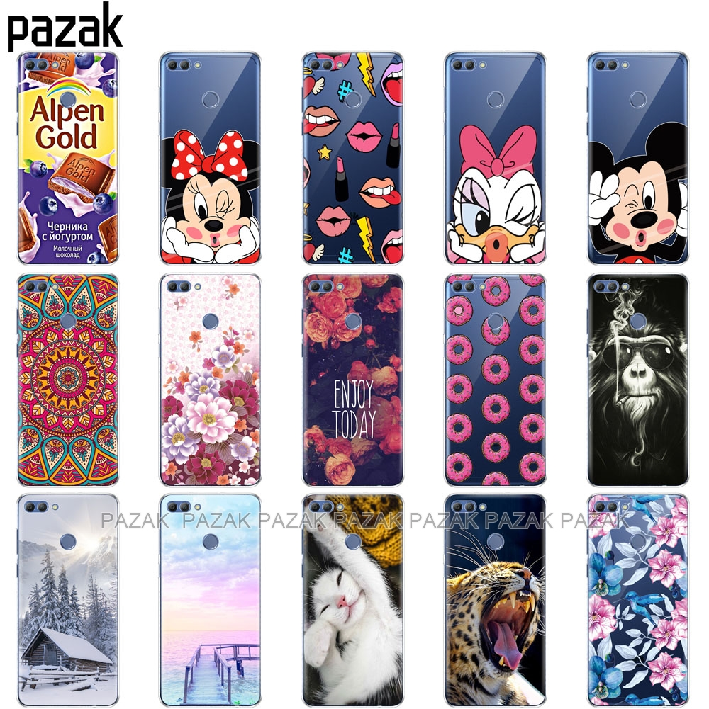 Silicone phone Case For huawei Y9 2018 cases Coque etui bumper shell soft TPU Phone Back cover full 360 Protective in Fitted Cases from Cellphones Telecommunications