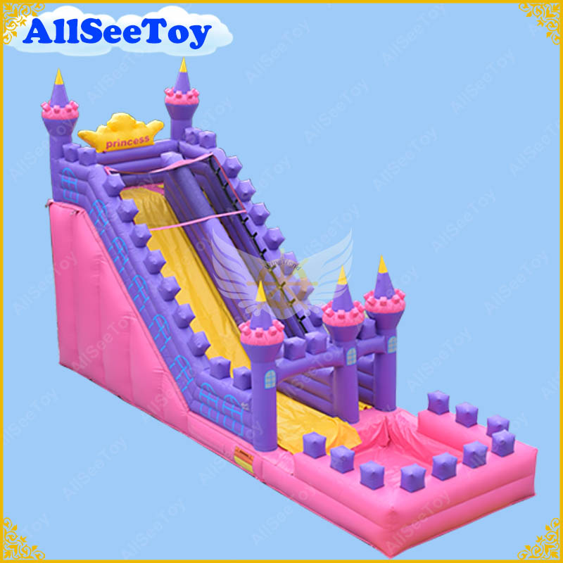 Inflatable Water Slide Pool Bouncy Castle: Very Beautiful Pink And Purple Inflatable Water Slide With