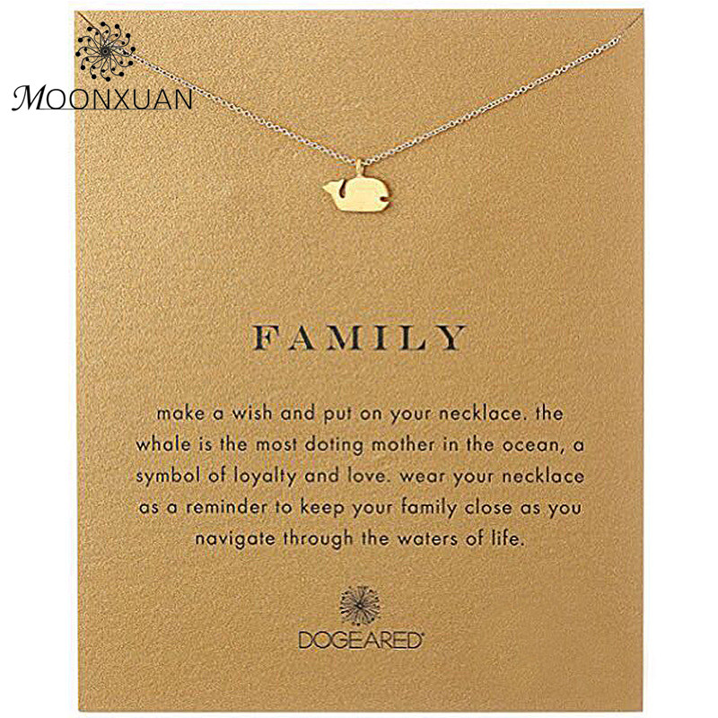 Dogeared Whale Family Charm Choker Necklace Colar Kolye Necklaces & Pendants Chocker Collares Chain Reminders Charms Womens MX13