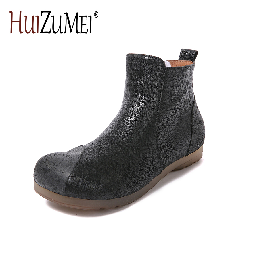 HUIZUMEI new genuine leather women's boots autumn and winter shoes retro handmade round toe soft bottom rubber ankle ladies boot front lace up casual ankle boots autumn vintage brown new booties flat genuine leather suede shoes round toe fall female fashion