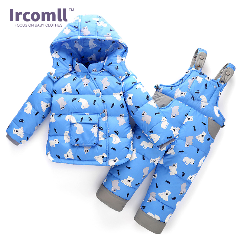 Ircomll 2017 Winter Children Set 2Pcs Duck Down Coat +Overalls Suits Boys Girls Clothing Sets Snowsuit Sintepon Baby Clothes