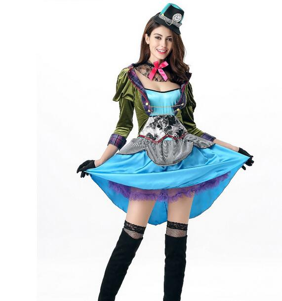 high quality Blue Maid costume Alice in the wonderland Sexy Blue Maid cosplay clothing Party dress Helloween costume