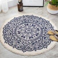 Mandala Retro Ethnic Cotton Linen Round Carpet for Living Room Modern Bedroom Anti Slip Round Rugs Floor Home Carpet Kitchen Mat
