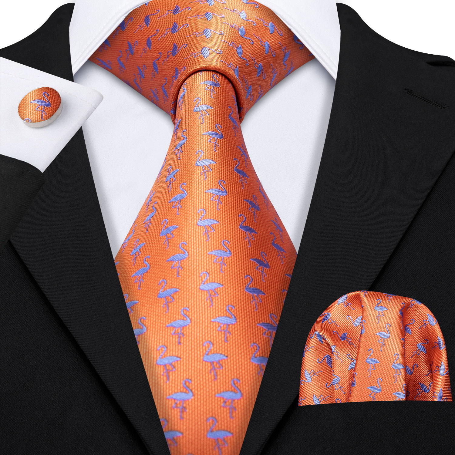 Barry.Wang Fashion Animal Men's 100% Silk Tie Bird Pocket Square Orange Flamingo Neckties Wedding Gift Box Set Neck Ties LS-5178