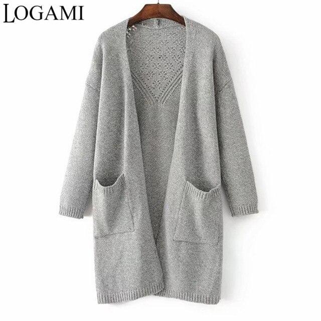6d43714902c Cárdigan de Punto largo de Mujer de Punto gris azul marino Kahaki Cardigans  Otoño Invierno suéter