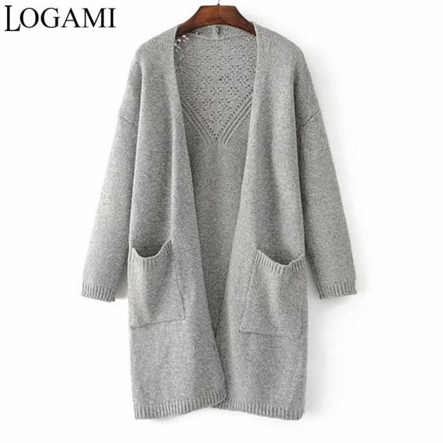 5bab9045239e LOGAMI Cardigan Women Long Knitted Grey Navy Blue Kahaki Cardigans Autumn  Winter Sweater Kazak Chaqueta Punto