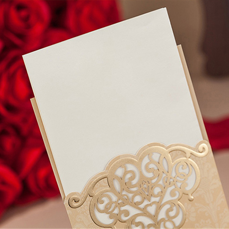 50pcs Red/Golden Laser Cut Elegant Flora Embossed Wedding Invitation ...