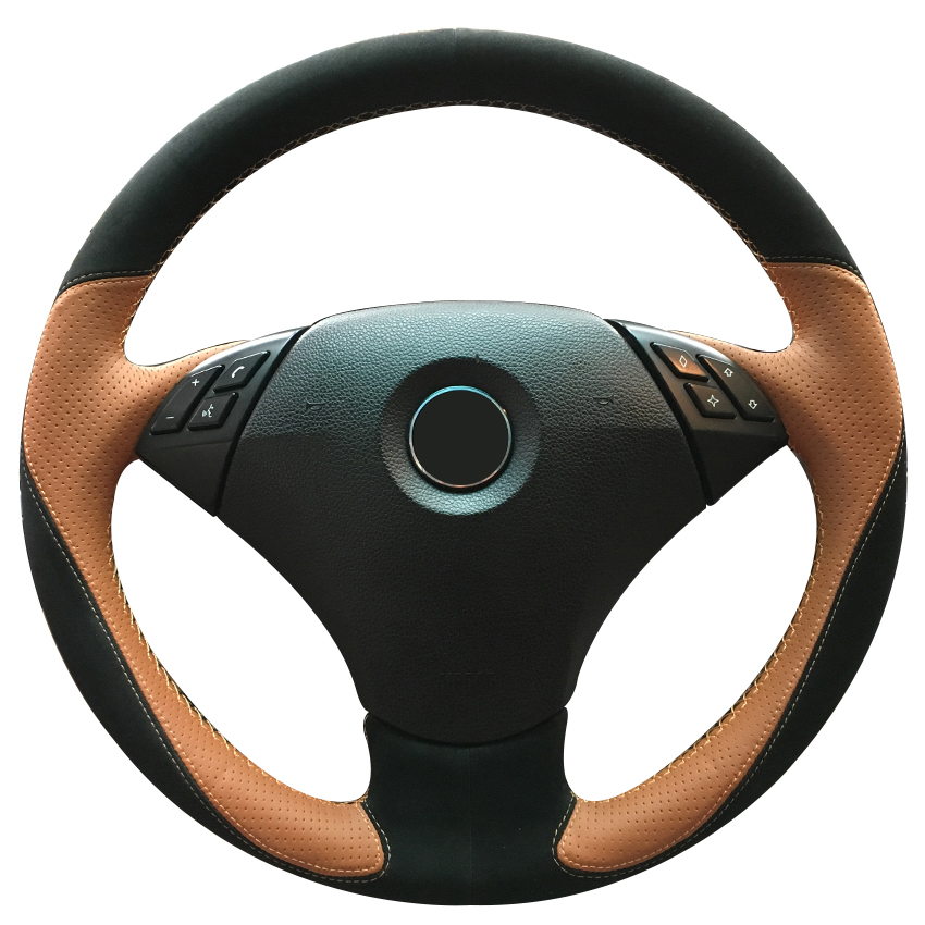 Black Suede Brown Leather Car Steering Wheel Cover for BMW 530 523 523li 525 520li 535