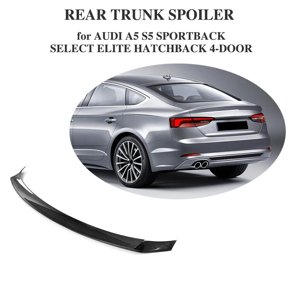 Carbon Fiber Rear Trunk Spoiler Wing for <font><b>Audi</b></font> <font><b>A5</b></font> S5 <font><b>Sportback</b></font> Hatchback 4 Door <font><b>2017</b></font> 2018 2019 3PCS/Set Not Sedan image