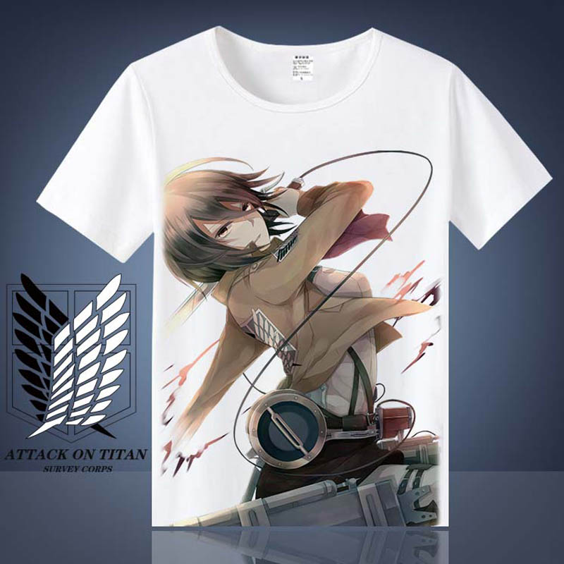 Coshome Attack on Titan T shirt Shingeki No Kyojin Mikasa Levi Cosplay T-shirts Costumes Men Women Short Sleeve Summer Tees Tops
