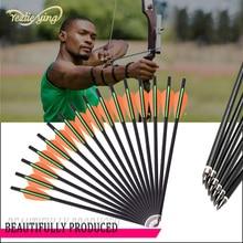 24 pièces 13/16/18/20 pouces carbone flèche Orange vert plume remplaçable flèche en plein air colère chasse arc classique tir à larc