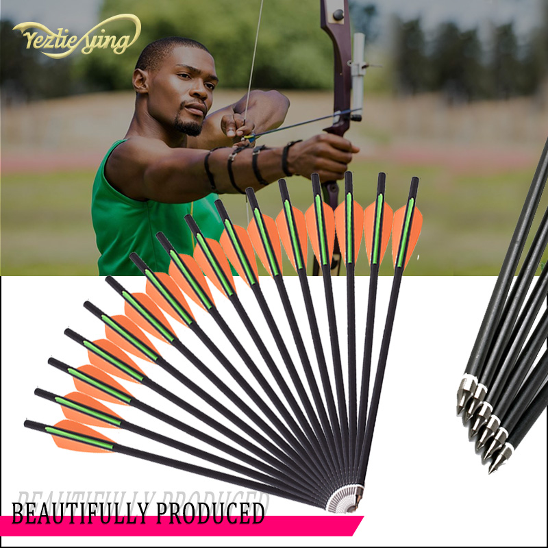 24PCS 13/16/18/20 Inch Carbon Arrow Orange Green Feather Replaceable Arrow Outdoor Anger Hunting Recurve Bow Archery-in Bow & Arrow from Sports & Entertainment