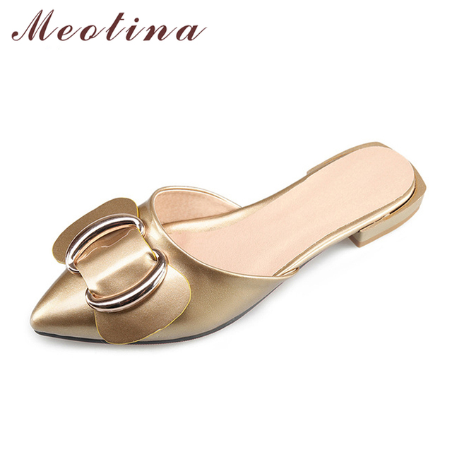 NEW Women Slides Pointed Toe Bow Slides Mules Shoes Slippers Flat Sandals Gold Wine 34-43