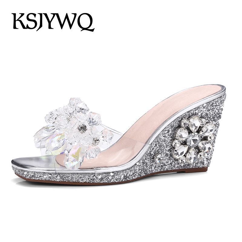 KSJYWQ Transparent Crystal beaded Women Wedges 11 cm High heels Open-toe Sexy Slides Summer Style Slippers Woman Box Packing L15 high quantity medicine detection type blood and marrow test slides