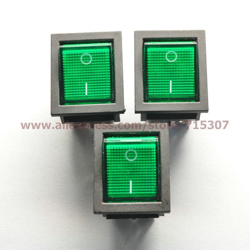 Phiscale 10 шт./лот 6 Булавки 16a 250 В Зеленая кнопка с легкими кулисный переключатель kcd4-202 KCD2 включения-выключения перекидной мощность Настенные п...