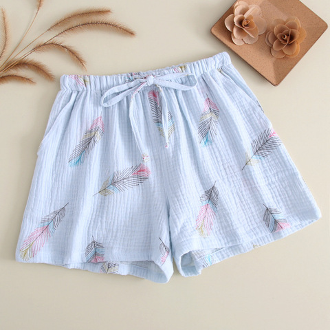 New Summer Couple 100% Cotton Gauze Crepe Shorts Feather Printing Lounge Sleep Shorts Men and Women Bottoms Lounge Pants Islamabad