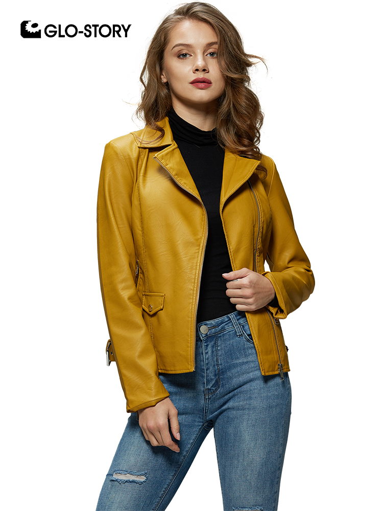 GLO-STORY 2019 Modis Women Moto & Biker Turn-Down Collar Zipper Pocket Faux   Leather   Jacket Winter Coat for Female WPY-7817