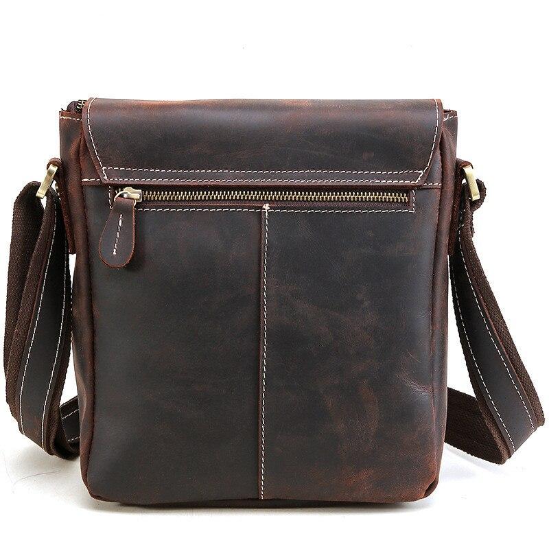 Porządkowania luksusowe rocznika torba męska na ramię torba szalony koń skórzane torby kurierskie Top Handmade torebka ze skóry cielęcej na co dzień torba męska 2112 w Torby z długim paskiem od Bagaże i torby na  Grupa 3
