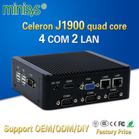 Minisys J1900 fanless mini pc quad core 2* intel i211 AT lan onboard embedded 4gb ram computer with 4 com port for windows 10