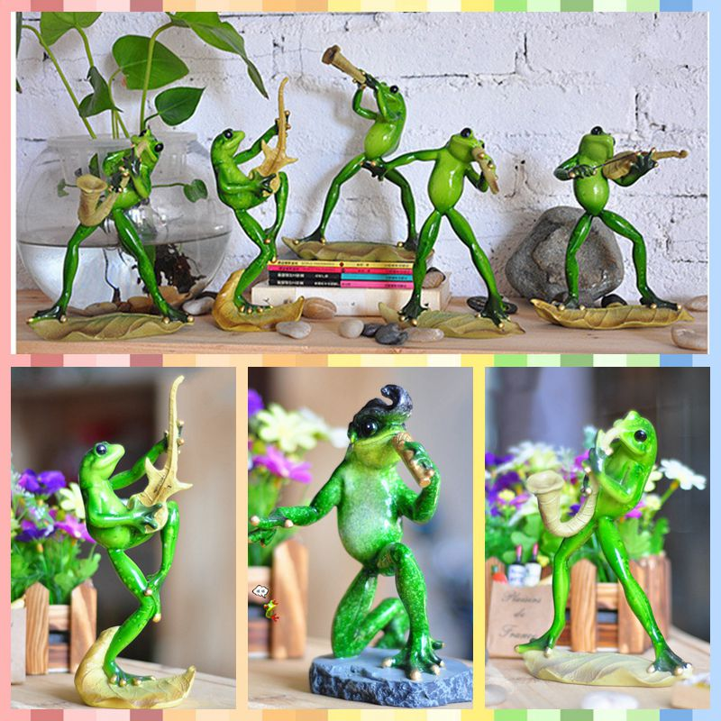 Free shipping Funny Frog Family Figures Resin toy Music Saxphone Sing cake home office desk car decoration party supply gifts
